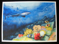 Underwater, Shark, Limited Edition Print, Watercolor Painting, Signed, Art Deco