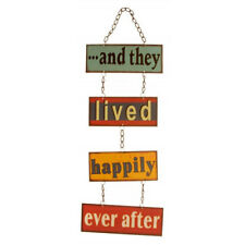 Retro and They Lived Happily Ever After Hanging Metal Wall Door Sign Chic Shabby