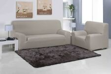 2 Seater Beige Easy Fit Stretch Elastic Fabric Chair Sofa Settee Slip Cover