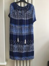 Splash Blue/White Mix Tunic/Dress Size 10 Short Sleeve