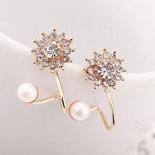 Women's Fashion Pearl Rhinestone Crystal Earrings Elegant Lady Ear Stud Jewelry