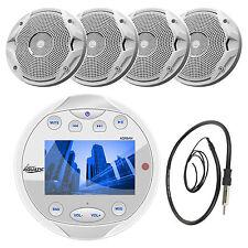 """4 White 6.5"""" Marine Speakers, Lanzar White Bluetooth AM FM Round Radio & Antenna"""