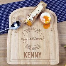 Grandad Birthday Christmas Easter Gift Personalised Engraved Egg and Toast Board