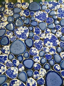 blue floral round ceramic mosaic indoor or outdoor tiles pebble delft