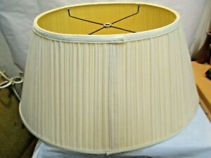 """White Pleated Oval Lamp Shade in good used shape Shade is 10.5"""" tall"""