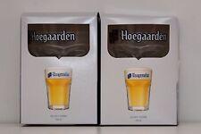 """LOT OF 2 HOEGAARDEN BEER GLASSES BELGIUM 33cl 5""""HIGH NEW IN BOX"""