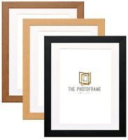 Photo Frames With Bevel Cut Mount Poster Frames Wood Effect Black-Walnut Oak NEW