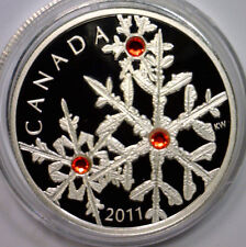 CANADA (2011) $20 SILVER CRYSTAL SNOWFLAKE (HYACINTH) PROOF LIMITED COA BOX