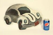 Vtg Phil Morrell Neo-Expressionist Art VW Bug Car Original Wood Painting Signed