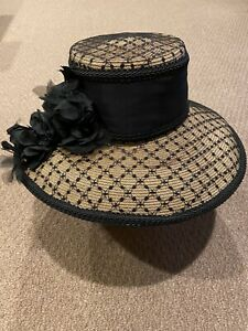 KOKIN New York Tan Straw Hat With Black Lace
