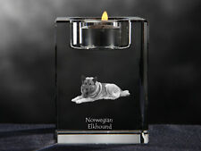 Norwegian Elkhound, crystal candlestick with dog, souvenir, Crystal Animals Usa