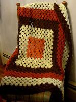 "Granny Square Crocheted Afghan 38"" Throw Blanket Brown/Orange Artisan Hand Made"
