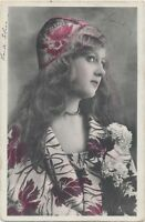 Antique Vintage RPPC Fashion Lady Photo Postcard Hand Tinted Antique Art Deco