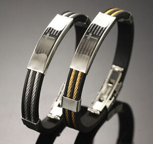 "8.46"" Stainless Steel Clasp Fashion Genuine Leather Cross bible ID Bracelet Men"