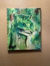 Acrylic painting with oil varnish, abstract, animal, green, signed.