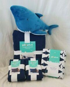 8 pc Pillowfort Full Shark Quilt, Shams, Sheets & Weighted Shark Pillow NIP
