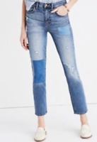 MADEWELL CRUISER STRAIGHT JEANS DESTROYED DISTRESSED PATCHED SIZE 23