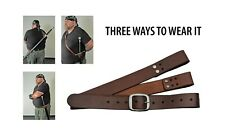 Sword Belt Baldric BROWN Leather Adjustable 3 Carry Options Reenactors LARP HEMA