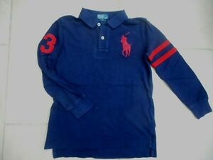 RALPH LAUREN NO 3 POLO BIG PONY RUGBY SHIRT NAVY AGE 7