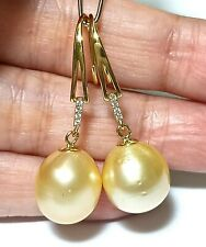 Amazing Luster 11.7 x 12.5mm Natural Gold Philippines South Sea Pearl Earrings