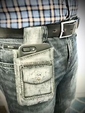 Handmade Mens Universal Leather Cell Phone Case Cover Pouch Belt Purse Waist Bag