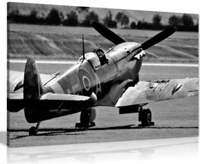 Black White Raf Spitfire Aircraft Canvas Wall Art Picture Print
