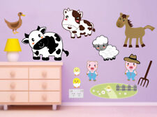 Farm Animals Wall Stickers / Decors, Removable Fabric Stickers