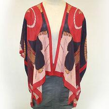 NEW NWT Cocoon House Red Umbrellas 100% Silk Kimono Blouse Large/XL fits 1X, 2X