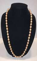 """Vintage Pale Pink Faux Pearl Beaded 30"""" Long Necklace with Gold Tone Slide Clasp"""
