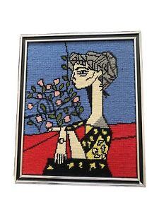 Vintage Pablo Picasso Needlepoint Art Jacqueline Roque Mid Century Modernist