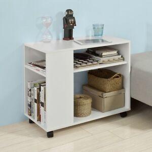 SoBuy® Bout de Canapé Table roulante 2 étagères de rangement,Biblio FBT34-W FR