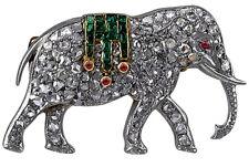 5.85ct Rose Cut Diamond Ruby Emerald Antique Victorian Look Silver Brooch Pin