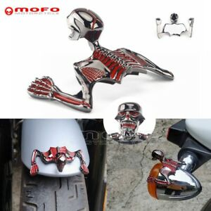 Motorcycle Skull Skeleton Ornament Headlight Visor Highway Hawk For Harley Steel