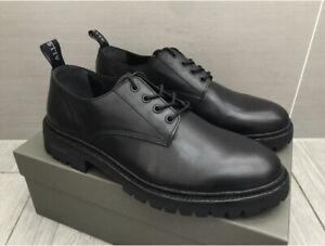 Mens New Black Leather Allsaints Tor Derby Shoes, UK 8