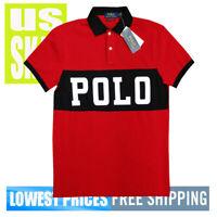 Polo Ralph Lauren Men's NWT 100% Cotton BIG POLO Print RED Polo Shirt MEDIUM