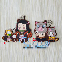 Anime Demon Slayer Kimetsu no Yaiba Rubber Keychain Key Ring straps cosplay