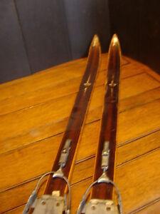 "Vintage Wooden HICKERY--ASNES TURSKI SKIS: grasshopper bindings, 78"" long"