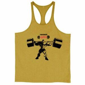 Men Workout Shirt Gym Tank Top Sleeveless Shirt Bodybuilding Fitness Cotton Vest