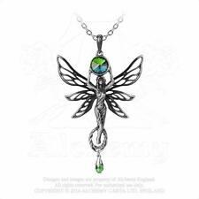Gothic Jugendstil Art Nouveau ALCHEMY grüne Fee Elfe Anhänger Amulett Kette P763