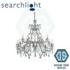 3314-18 SEARCHLIGHT MARIE THERESE CHROME 18 LIGHT CHANDELIER WITH CRYSTAL DROPS
