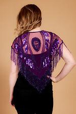 Vintage art deco flapper gatsby style heavily sequin beaded shawl/ bolero cape