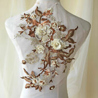 Blossom Lace Appliqué Beaded Embroidery Flower Patch for Dance Costumes