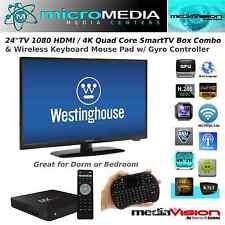 "MediaVision 24"" TV Media Center Combo-4K QuadCore SmartTV Box WiFi Miracast XMBC"