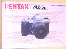 Original(!) ASAHI PENTAX MZ-5N Instruction Manual - in Swedish