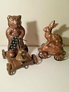 2 Vintage COPPER Pull Toys - MICHAEL BONNE - Russia - Always a Good Bunny▪No Dmg