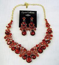 Red Rhinestone Crystal Statement Necklace Set Wedding Bridal New Free Shipping