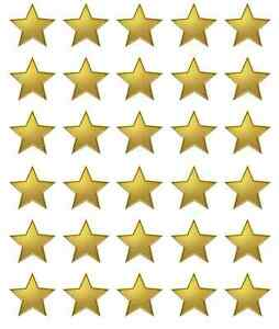 30 x Gold Stars Edible Cupcake Toppers Wafer Paper Fairy Cake Toppers