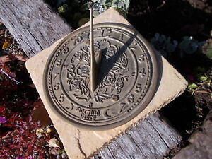 Vintage Brass Sundial & Compass Mounted On Stone Ref H1/4