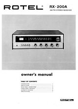 Rotel RX-200A Receiver Owners Instruction Manual