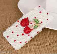 Lovely red crystal cherry bling bling pearl Cover Case For Various Mobile Phones